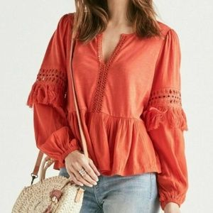 Lucky Brand Women's Cutout Peasant Blouse Red Clay